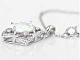 White Lab Created Opal And White Zircon Sterling Silver Pendant With Chain 1.72ctw