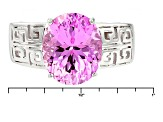 Pink Lab Created Sapphire Sterling Silver Ring 6.16ct