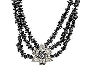 Black Spinel Sterling Silver Chip Necklace