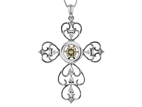 White Fabulite Strontium Titanate And White Zircon Sterling Silver Cross Pendant With Chain 3.10ctw