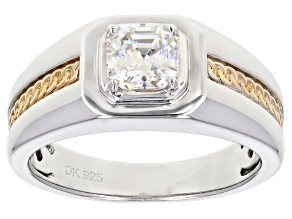 Fabulite Strontium Titanate rhodium and 18k yellow gold over silver mens ring 1.40ct