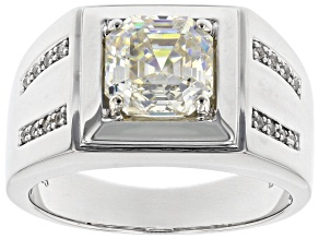 Fabulite Strontium Titanate And White Zircon Rhodium Over Silver Mens Ring 3.35ctw.