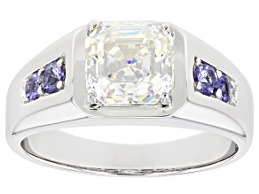 Fabulite Strontium Titanate And Tanzanite Rhodium Over Silver Mens Ring 3.55ctw.