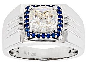 Fabulite Strontium Titanate And Lab Created Blue Spinel Rhodium Over Silver Mens Ring 3.49ctw.