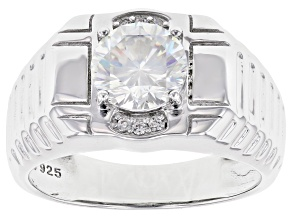 Fabulite Strontium Titanate And White Zircon  Rhodium Over Silver Mens Ring 2.90ctw.