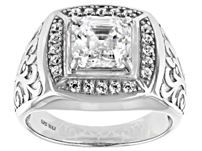 Fabulite Strontium Titanate And White Zircon  Rhodium Over Silver Mens Ring 3.63ctw.