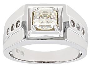 Fabulite Strontium Titanate Rhodium Over Silver Mens Ring 1.68ctw.
