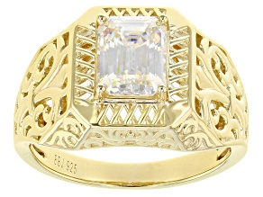 Fabulite Strontium Titanate 18k Yellow Gold Over Silver Mens Ring 3.30ct.