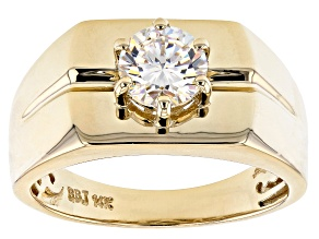 Fabulite Strontium Titanate 14k Yellow Gold Mens Ring 1.75ct.