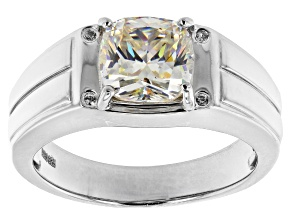 Fabulite Strontium Titanate And White Zircon  Rhodium Over Silver Mens Ring 3.28ctw.