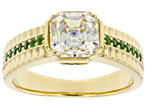 Fabulite Strontium Titanate And Chrome Diopside  18k Yellow Gold Over Silver Mens Ring 3.45ctw.