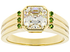 Fabulite Strontium Titanate And Chrome Diopside  18k Yellow Gold Over Silver Mens Ring 3.34ctw.