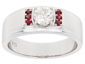 Fabulite Strontium Titanate And Red Spinel Rhodium Over Silver Mens Ring 1.25ctw.
