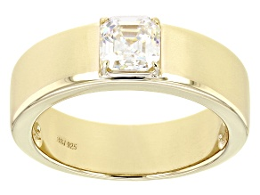 Fabulite Strontium Titanate 18k Yellow Gold Over Silver Mens Ring 1.40ct.