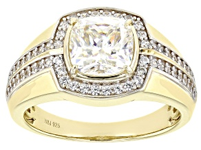 Fabulite Strontium Titanate And White Zircon 18k Yellow Gold Over Silver Mens Ring 3.77ctw.
