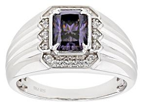 Purple Fabulite Strontium Titanate And White Zircon Rhodium Over Silver Mens Ring 2.36ctw.