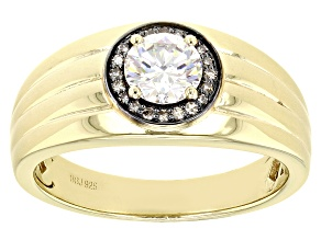 Fabulite Strontium Titanate And Champagne Diamond 18k Yellow Gold Over Silver Mens Ring 1.20ctw.