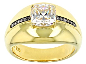 Fabulite Strontium Titanate 18k Yellow Gold Over Silver Mens Ring 3.35ctw
