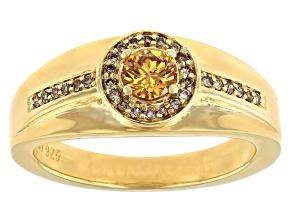 Champagne Fabulite Strontium Titanate 18k Yellow Gold Over Silver Mens Ring .94ctw