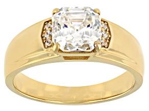 Fabulite Strontium Titanate And White Zircon 3K Yellow Gold Ring 3.34ctw.