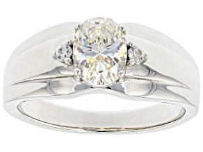 Fabulite Strontium Titanate And White Zircon Rhodium Over Silver Mens Ring 1.60ctw