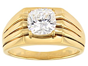 Fabulite Strontium Titanate 18K Yellow Gold Over Silver Solitaire Mens Ring 3.25ct