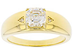 Fabulite Strontium Titanate and white zircon 14k yellow gold over sterling silver mens ring 2.43ctw