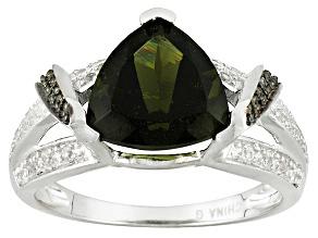 Green Moldavite Sterling Silver Ring 2.42ctw.