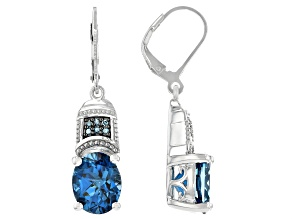 London Blue Topaz Rhodium Over Sterling Silver Dangle Earrings 7.68ctw.