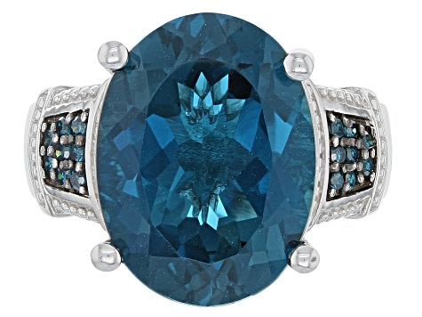 London Blue Topaz Sterling Silver Ring 10.60ctw.