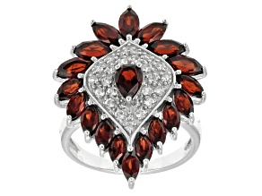 Red garnet rhodium over sterling silver ring 4.39ctw.