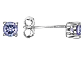 Blue tanzanite solitaire rhodium over sterling silver earrings .43ctw