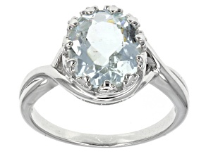 Blue Brazilian Aquamarine Sterling Silver Ring 2.54ctw.
