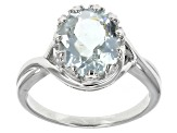 Blue Brazilian Aquamarine Sterling Silver Ring 2.54ctw.