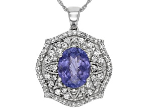 Blue Tanzanite Sterling Silver Pendant With Chain 4.54ctw