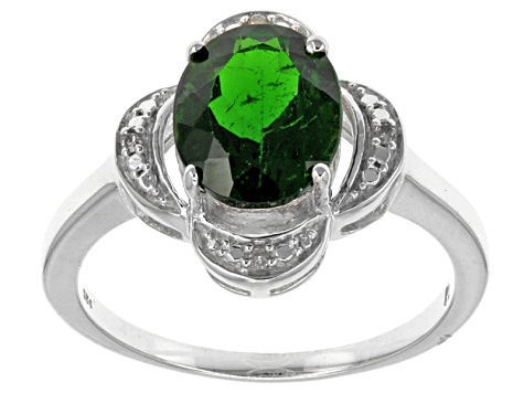 Green Russian Chrome Diopside Sterling Silver Ring 2.66ctw.