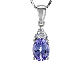 Blue Tanzanite Sterling Silver Pendant With Chain 1.21ctw