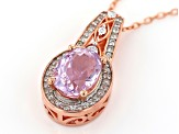 Pink Kunzite 18k Rose Gold Over Sterling Silver Pendant With Chain 2.49ctw