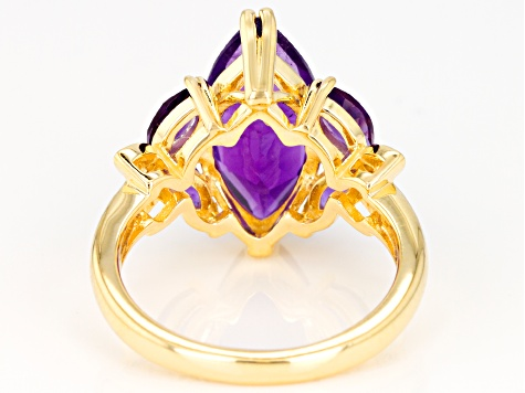 Purple Amethyst 18k Yellow Gold Over Sterling Silver Ring 4.04ctw