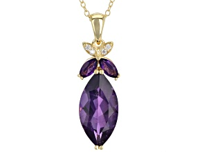 Purple Amethyst 18k Yellow Gold Over Sterling Silver Pendant With Chain 4.64ctw