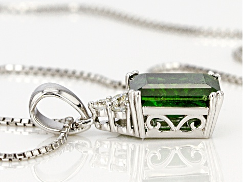 Green Russian Chrome Diopside Sterling Silver Pendant With Chain 2.40ctw