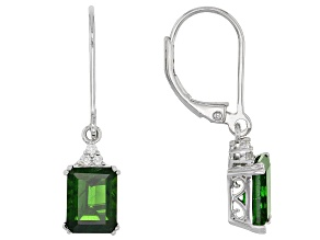 Green Russian Chrome Diopside Sterling Silver Dangle Earrings 3.25ctw