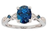 London Blue Topaz Rhodium Over Sterling Silver Ring 2.18ctw
