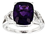 Purple amethyst rhodium over sterling silver ring 4.13ctw