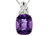 Purple amethyst rhodium over silver pendant with chain 4.10ctw