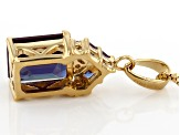Blue Lab Created Alexandrite 18k yellow gold over silver pendant with chain 4.07ctw