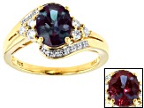 Color change lab alexandrite 18k gold over silver ring 2.17ctw