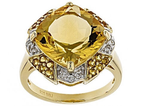 Yellow citrine 18k gold over sterling silver ring 5.54ctw