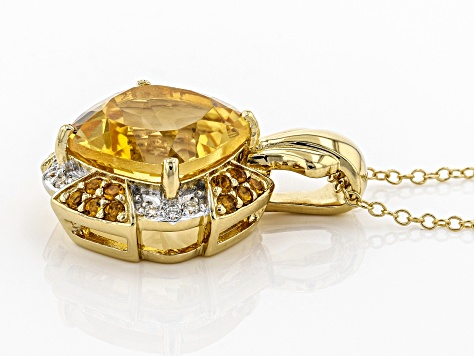 Yellow citrine 18k gold over silver pendant with chain 5.54ctw