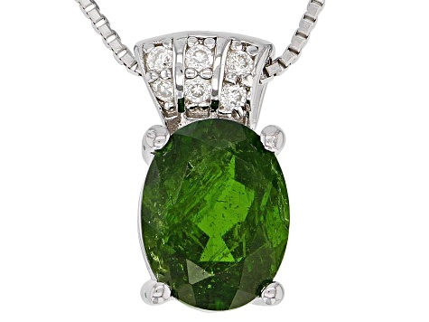 Green Russian Chrome Diopside Rhodium Over Sterling Silver Pendant With Chain 1.71ctw